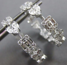 ESTATE WIDE 3.50CT DIAMOND 18K WHITE GOLD MULTI SHAPE SQUARE HEART HOOP EARRINGS