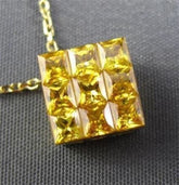ESTATE 1.33CT YELLOW SAPPHIRE 18KT YELLOW GOLD SQUARE FLOATING PENDANT & CHAIN