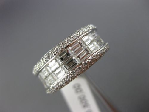 WIDE 1.58CT ROUND & BAGUETTE DIAMOND 18K WHITE GOLD 3D SEMI ROW ANNIVERSARY RING