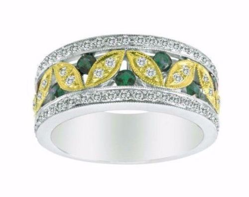 WIDE .91CT DIAMOND & AAA TSAV0RITE 14KT 2 TONE GOLD MULTI LEAF ANNIVERSARY RING