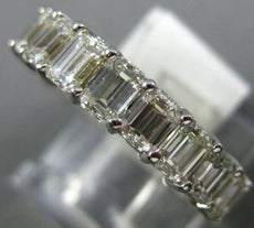 ESTATE 3.98CT EMERALD CUT DIAMOND 14KT WHITE GOLD 3D ETERNITY ANNIVERSARY RING