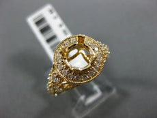 WIDE .55CT DIAMOND 14KT YELLOW GOLD 3D HALO 4 PRONG SEMI MOUNT ENGAGEMENT RING