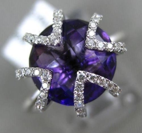 3.57CT DIAMOND & AAA ROUND AMETHYST 14K WHITE GOLD 3D TRIANGULAR FLOWER FUN RING