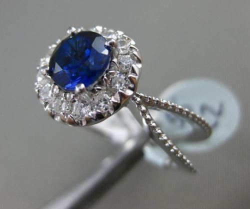 ESTATE 1.40CT DIAMOND & AAA SAPPHIRE 14K WHITE GOLD HALO CLASSIC ENGAGEMENT RING