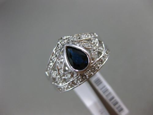 WIDE .83CT DIAMOND & AAA SAPPHIRE 14KT WHITE GOLD 3D PEAR SHAPE ENGAGEMENT RING
