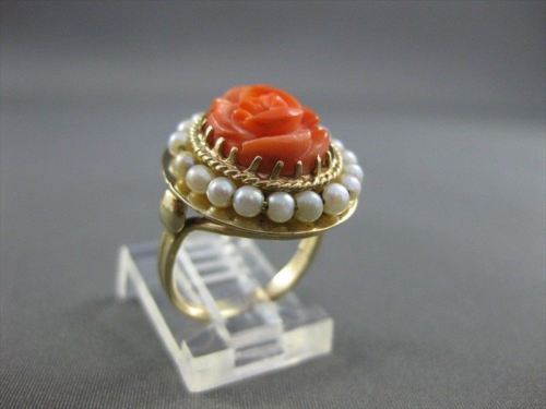 ANTIQUE AAA CORAL & PEARL 14KT YELLOW GOLD FILIGREE FLOWER COCKTAIL RING #21833