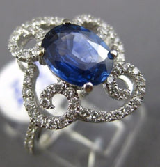 LARGE 2.30CT DIAMOND & AAA SAPPHIRE 14K WHITE GOLD SQUARE FLOWER ENGAGEMENT RING