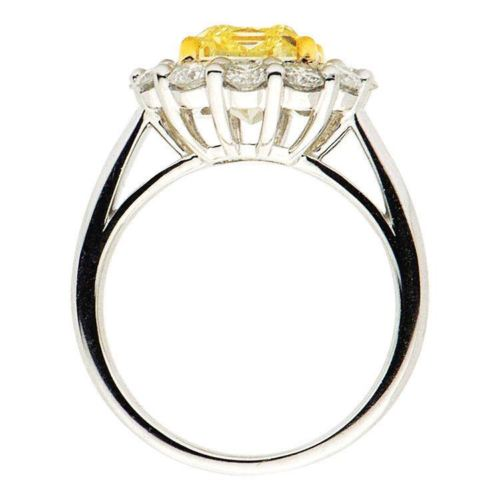 LARGE 4.72CT WHITE & FANCY YELLOW DIAMOND 18K TWO TONE GOLD 3D ENGAGEMENT RING