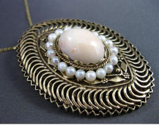 ANTIQUE LARGE AAA PEARL & CORAL 14KT YELLOW GOLD 3D OVAL FLOATING PENDANT BROOCH
