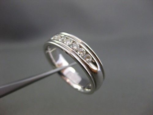 ESTATE WIDE .56CT DIAMOND 14KT WHITE GOLD 7 STONE ANNIVERSARY WEDDING RING #2603