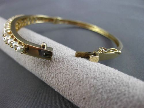 ANTIQUE WIDE .30CT SAPPHIRE & PEARL 14KT YELLOW GOLD GRADUATING BANGLE #24210