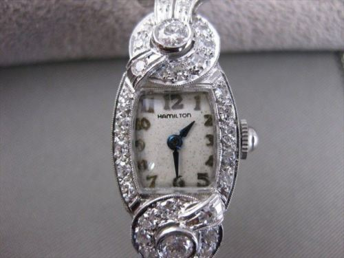 ANTIQUE 2.0CTW OLD MINE EURO CUT DIAMOND PLATINUM ART DECO HAMILTON WATCH #2368