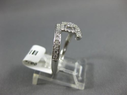 ESTATE WIDE .31CT DIAMOND 18KT WHITE GOLD 3D SQUARE FLOWER CRISS CROSS FUN RING