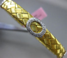 ESTATE WIDE .70CT DIAMOND 14K WHITE & YELLOW GOLD OVAL HALO MESH BANGLE BRACELET
