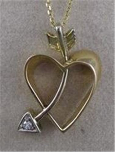 ESTATE DIAMOND 14K 2 TONE GOLD SHOOTING HEART ARROW PENDANT + CHAIN #23MMx15MM