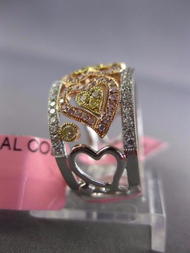 WIDE .88CT WHITE PINK & FANCY YELLOW DIAMOND 18K TRI COLOR GOLD ANNIVERSARY RING