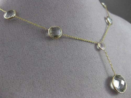 ANTIQUE 16.0CT AAA EXTRA FACET GREEN AMETHYST 14KT YELLOW GOLD LARIAT NECKLACE