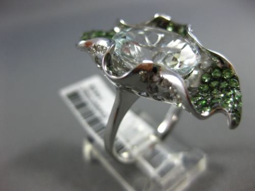 EXTRA LARGE 8.20CT DIAMOND & AAA TSAVORITE & AQUAMARINE 18K WHITE GOLD LEAF RING