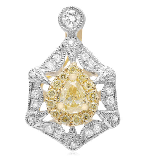 .59CT WHITE & FANCY YELLOW DIAMOND 18K 2 TONE GOLD 3D PEAR SHAPE HEXAGON PENDANT