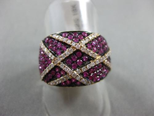 ESTATE LARGE .79CT DIAMOND & PINK SAPPHIRE 18K ROSE GOLD 3D CRISS CROSS FUN RING