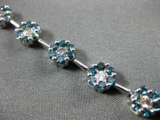 ESTATE WIDE 3.53CT WHITE & BLUE DIAMOND 14K WHITE GOLD 3D FLOWER TENNIS BRACELET