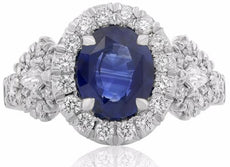 GIA CERTIFIED 4.36CT DIAMOND & AAA SAPPHIRE 18K WHITE GOLD THREE STONE HALO RING