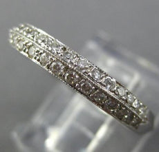ESTATE .35CT DIAMOND 14K WHITE GOLD FILIGREE SEMI ETERNITY ANNIVERSARY RING 1209