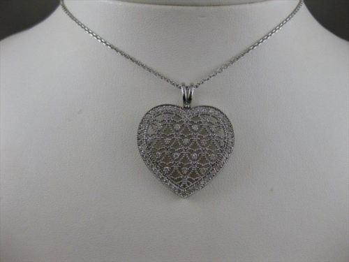 ANTIQUE 1.10CTW DIAMOND HEART 14K WHITE GOLD FILIGREE PENDANT 29MM + CHAIN #853