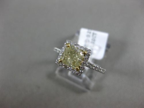 ESTATE 1.27CT WHITE & FANCY YELLOW DIAMOND 14K 2 TONE GOLD HALO ENGAGEMENT RING