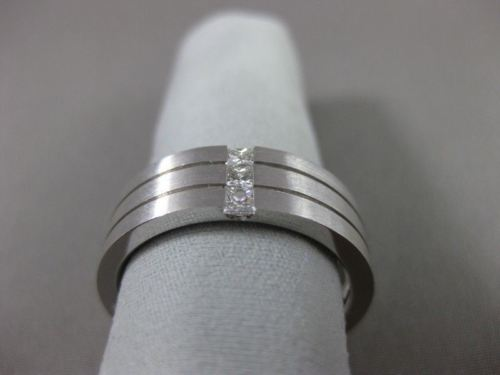 ESTATE WIDE .36CT DIAMOND 14K WHITE GOLD PRINCESS CUT TENSION MENS RING 22431