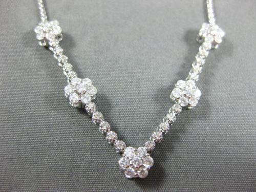 ESTATE 1.0CT DIAMOND 14KT WHITE GOLD 3D FLOWER BY YARD FILIGREE V SHAPE NECKLACE