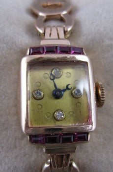 "ANTQUE .84CTW OLD MINE CUT DIAMOND RUBY 14K PINK ROSE GOLD WATCH 6.5"" WORKS 2076"