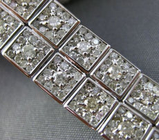 ESTATE WIDE 8.10CT DIAMOND 18KT WHITE GOLD 3D DOUBLE ROW SQUARE TENNIS BRACELET