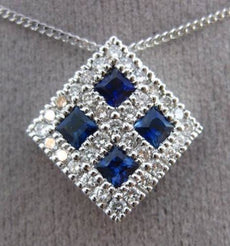 ESTATE LARGE .50CT DIAMOND AAA SAPPHIRE 14K WHITE GOLD 3D FLOATING PENDANT 23790