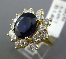 ANTIQUE WIDE 5.45CT DIAMOND & AAA SAPPHIRE 18KT GOLD CLUSTER COCKTAIL RING #2183