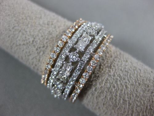 WIDE 2.79CT DIAMOND 14KT WHITE & ROSE GOLD MULTI ROW ETERNITY ANNIVERSARY RING
