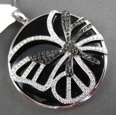 ESTATE MASSIVE 20.14CT ONYX & DIAMOND 18KT WHITE & BLACK GOLD CIRCULAR PENDANT