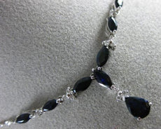 ESTATE 2.36CT DIAMOND & AAA SAPPHIRE 14K WHITE GOLD 3D TEAR DROP LARIAT NECKLACE