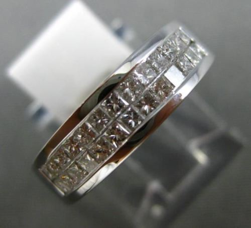 ESTATE WIDE .84CT PRINCESS DIAMOND 14KT WHITE GOLD 3D TWO ROW ANNIVERSARY RING