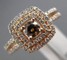 EFFY WIDE 1.0CT WHITE & CHOCOLATE FANCY DIAMOND 14KT ROSE GOLD HALO PROMISE RING