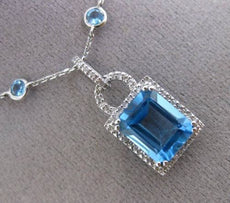 ESTATE 7.48CT DIAMOND & AAA BLUE TOPAZ 14KT WHITE GOLD HALO BY THE YARD NECKLACE