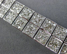 WIDE & LONG 8.20CT DIAMOND 18K WHITE GOLD TWO ROW SQUARE CLUSTER TENNIS BRACELET
