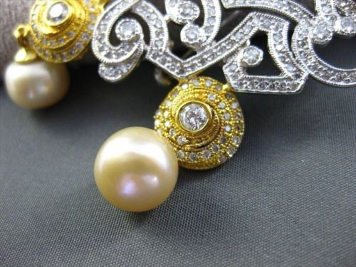 ANTIQUE LARGE 2.90CT DIAMOND 18KT W&Y GOLD GOLDEN SOUTH SEA PEARL PIN & PENDANT