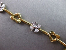 ANTIQUE .40CTW DIAMOND 14KT WHITE & YELLOW GOLD FLOWER & HEART BRACELET #1487