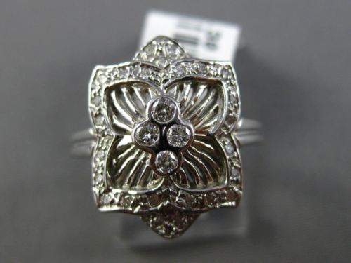 ESTATE WIDE .30CT ROUND DIAMOND 14K WHITE GOLD 3D PAVE ETOILE SQUARE FLOWER RING