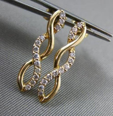 ESTATE .25CT DIAMOND 14KT YELLOW GOLD INFINITY JOURNEY ELONGATED STUD EARRINGS