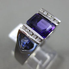 ESTATE 3.67CT DIAMOND & AAA AMETHYST 14KT WHITE GOLD 3D 3 ROW MENS FUN RING