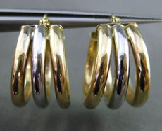 ESTATE WIDE 14KT WHITE & YELLOW GOLD 3D 3 ROW PAST PRESENT FUTURE HOOP EARRINGS