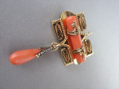 ANTIQUE .14CT ROSE CUT DIAMOND 18KT Y GOLD CORAL & BLACK ENAMEL PIN BROOCH #1892