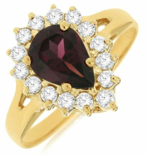 1.70CT DIAMOND & AAA RHODOLITE 14KT YELLOW GOLD PEAR SHAPE HALO ENGAGEMENT RING